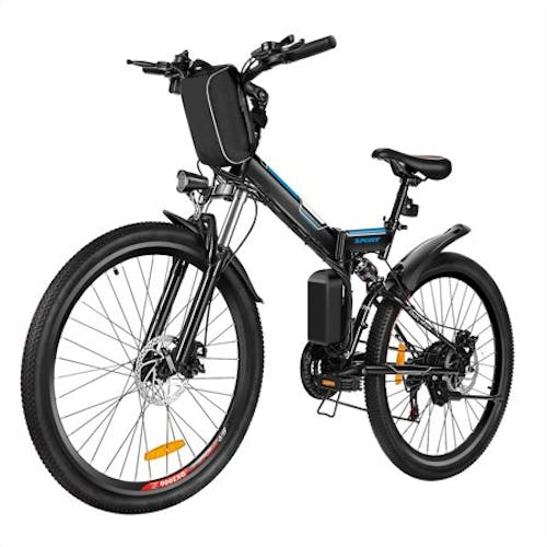 "Folding Electric Mountain Bike with 26"" Super Lightweight Magnesium Alloy 6 Spokes Integrated Wheel"