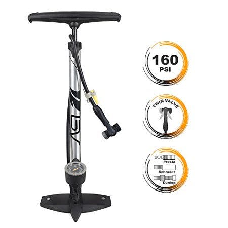 BV Bicycle Ergonomic Floor Pump with Gauge & Clever Air Valve, 160 psi, Reversible Presta and Schrader