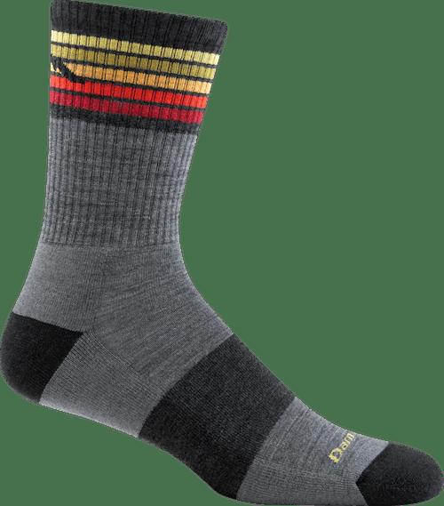 Darn Tough Men's Kelso Micro Crew Lightweight Cushion Socks in Grey, Nylon, Size Medium