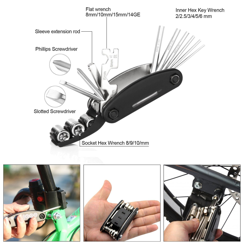 120 PSI Mini Pump /& 16 in 1 Bicycle Multi Tool with DAWAY A35 Bike Repair Kit