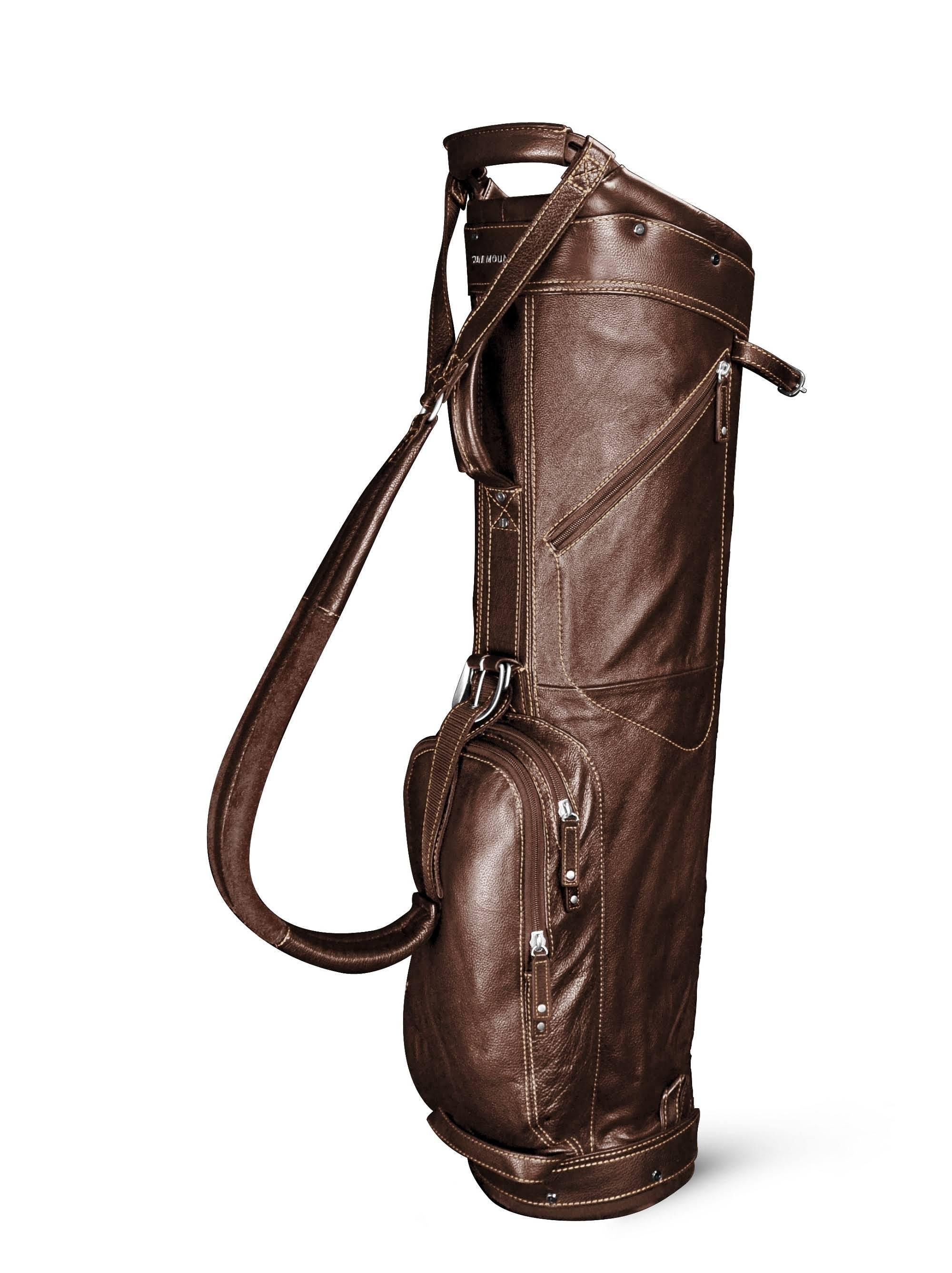 Sun Mountain Leather Sunday Bag, Brown/Khaki
