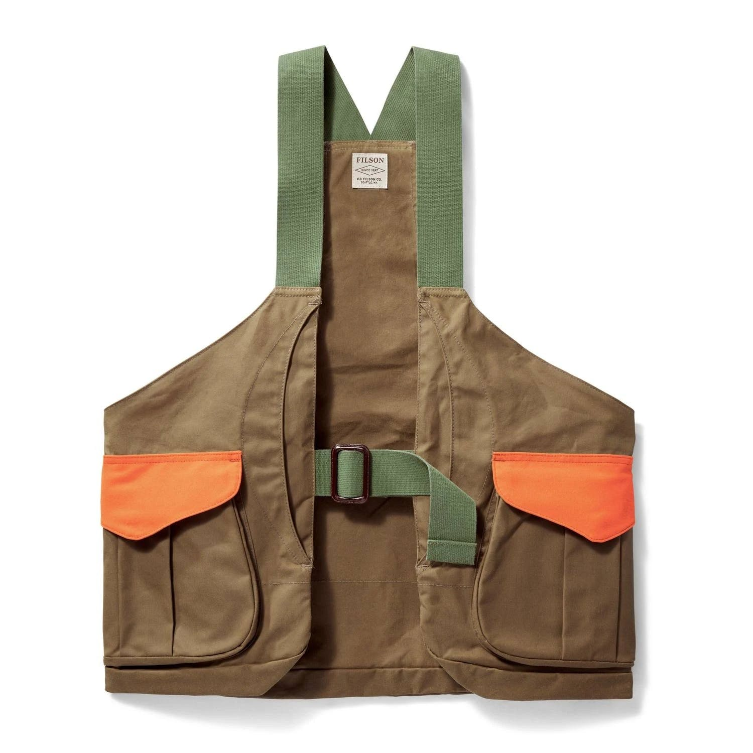 Filson - Shelter Cloth Tan Blaze Orange Strap Vest