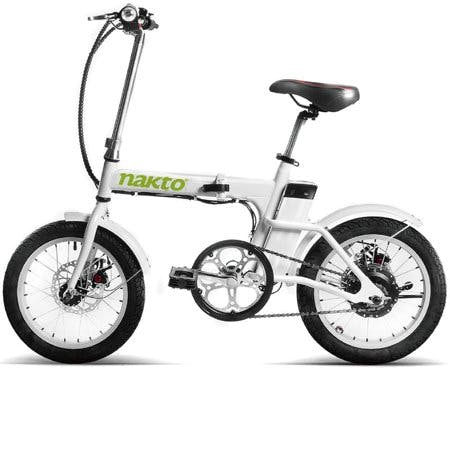 NAKTO 16inch Skylark Folding Electric Bicycle 220W 36V With USB Charger · White