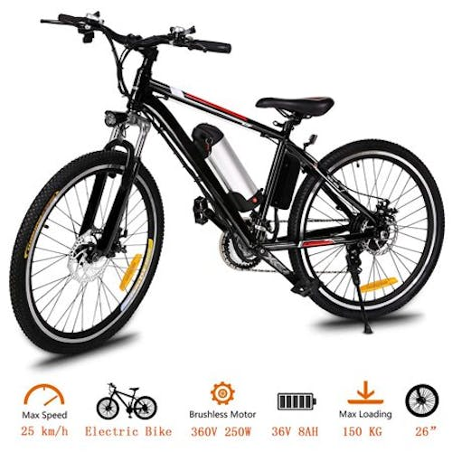 "26"" 21 Speed 36V Electric Mountain Bicycle for Adults with Removable Lithium-ion Battery Integrated Mens Electric Bike · With LED Handlebar Display And LED Headlight"