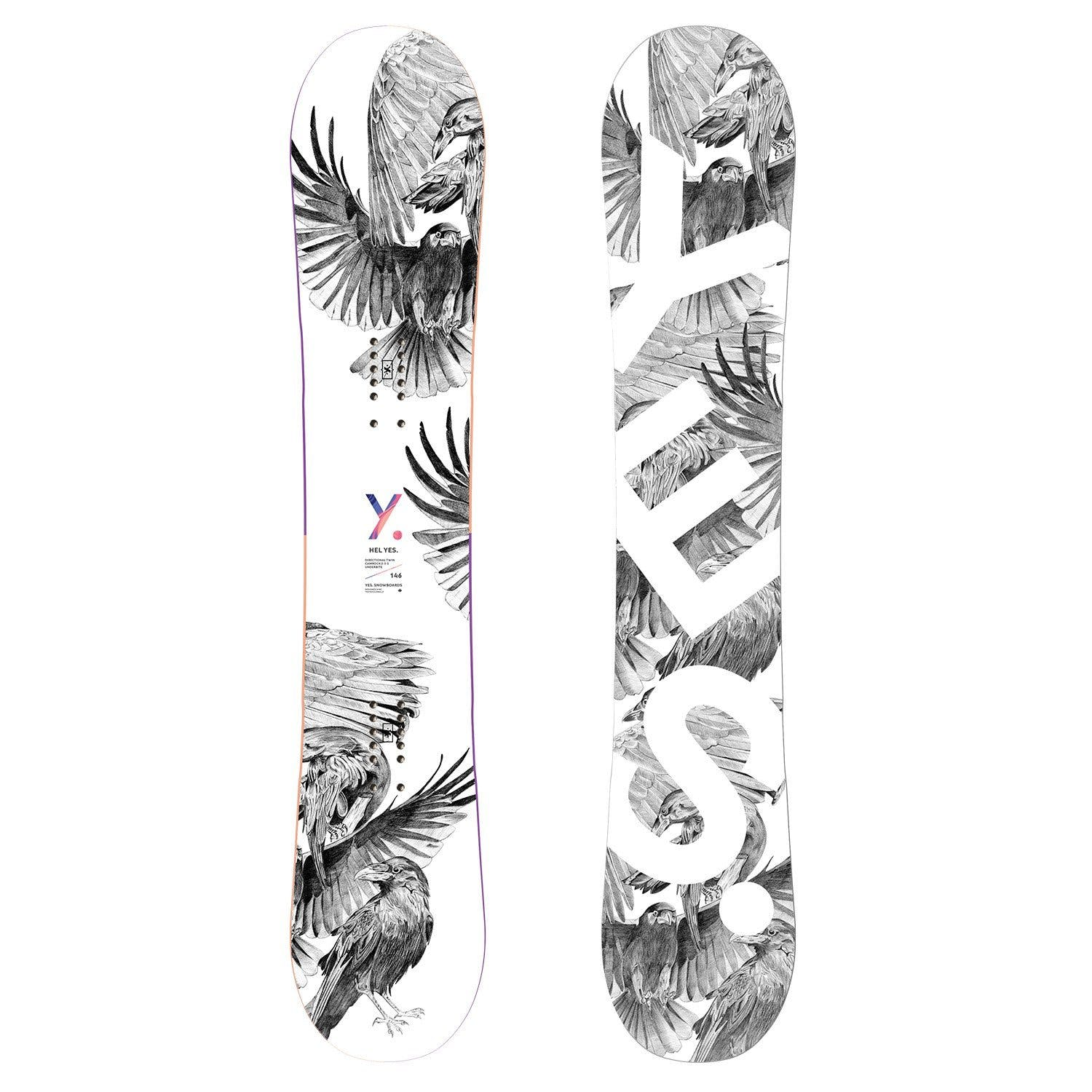 Yes. Snowboard Hel Yes. Women's Board Bird Sketch