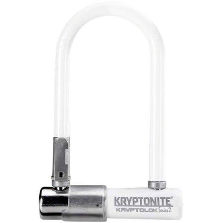 Kryptonite Krypto Series 2 Mini-7 U-Lock - 3.25 x 7 Keyed White Includes