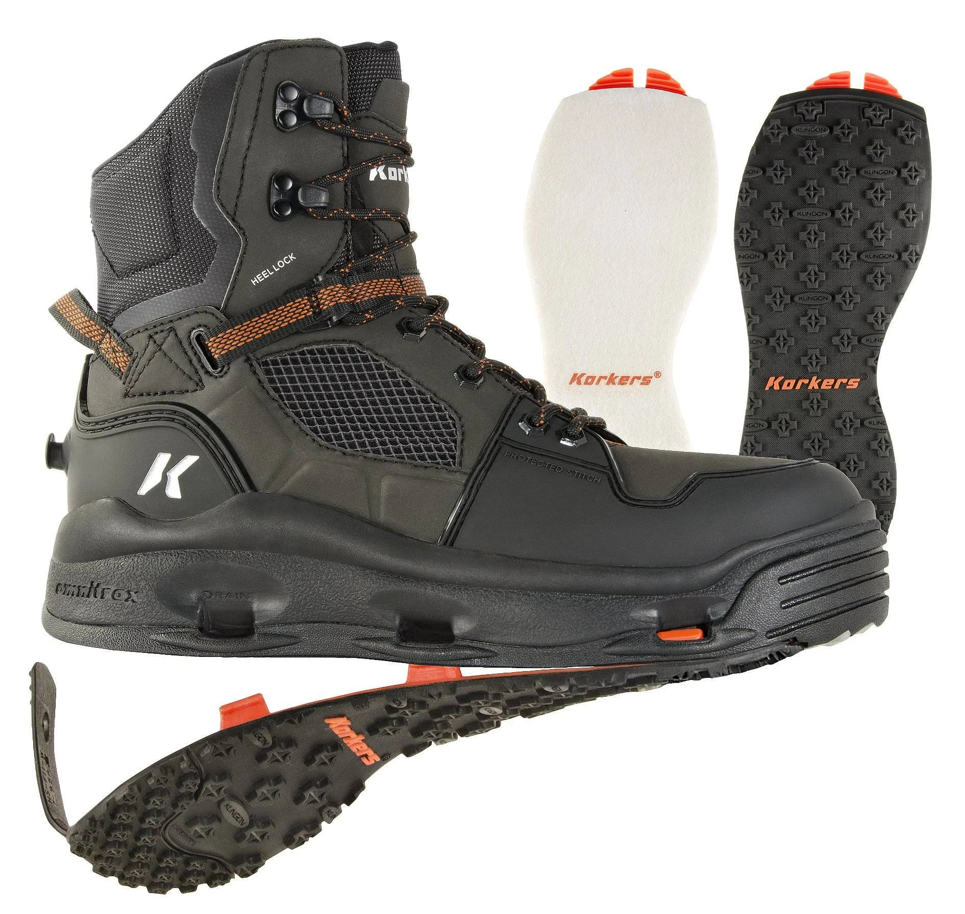 New! Korkers Terror Ridge Wading Boot Felt/Kling-On shoe_size:12