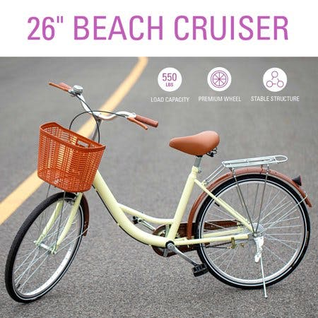 Girl's Beach Cruiser Bike 26 Inch Bicycle Step-through Frame Comfort Ride