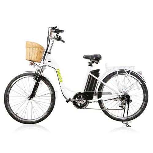 NAKTO City Electric Bicycle 250W 36V 10A for Women 26 inch CAMEL White