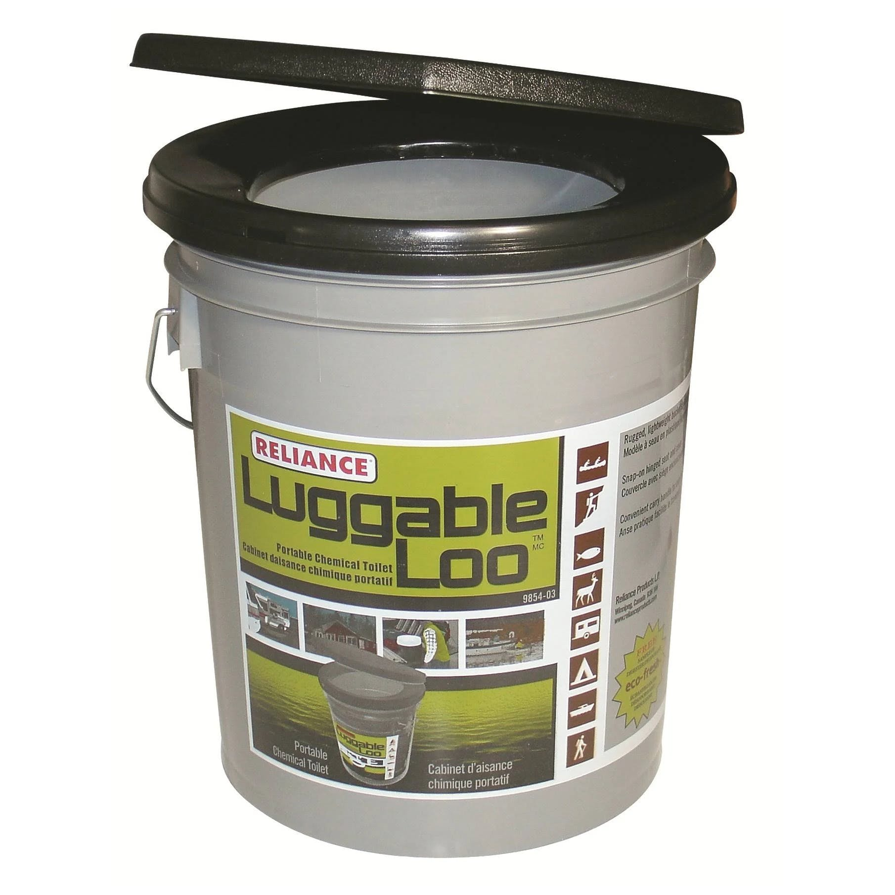 Reliance Luggable Loo Portable Toilet, Gray