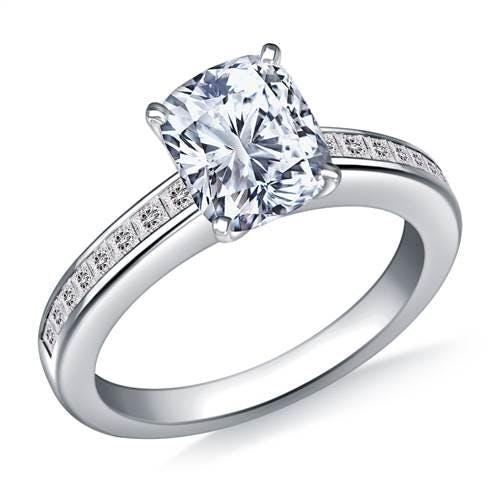 Channel Set Princess Cut Diamond Engagement Ring In Platinum 3 8