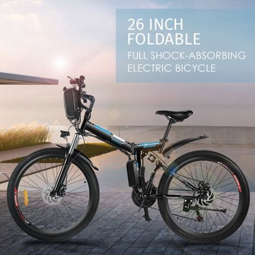 """Folding Electric Mountain Bike with 26"""" Super Lightweight Magnesium Alloy 6 Spokes Integrated Wheel"""