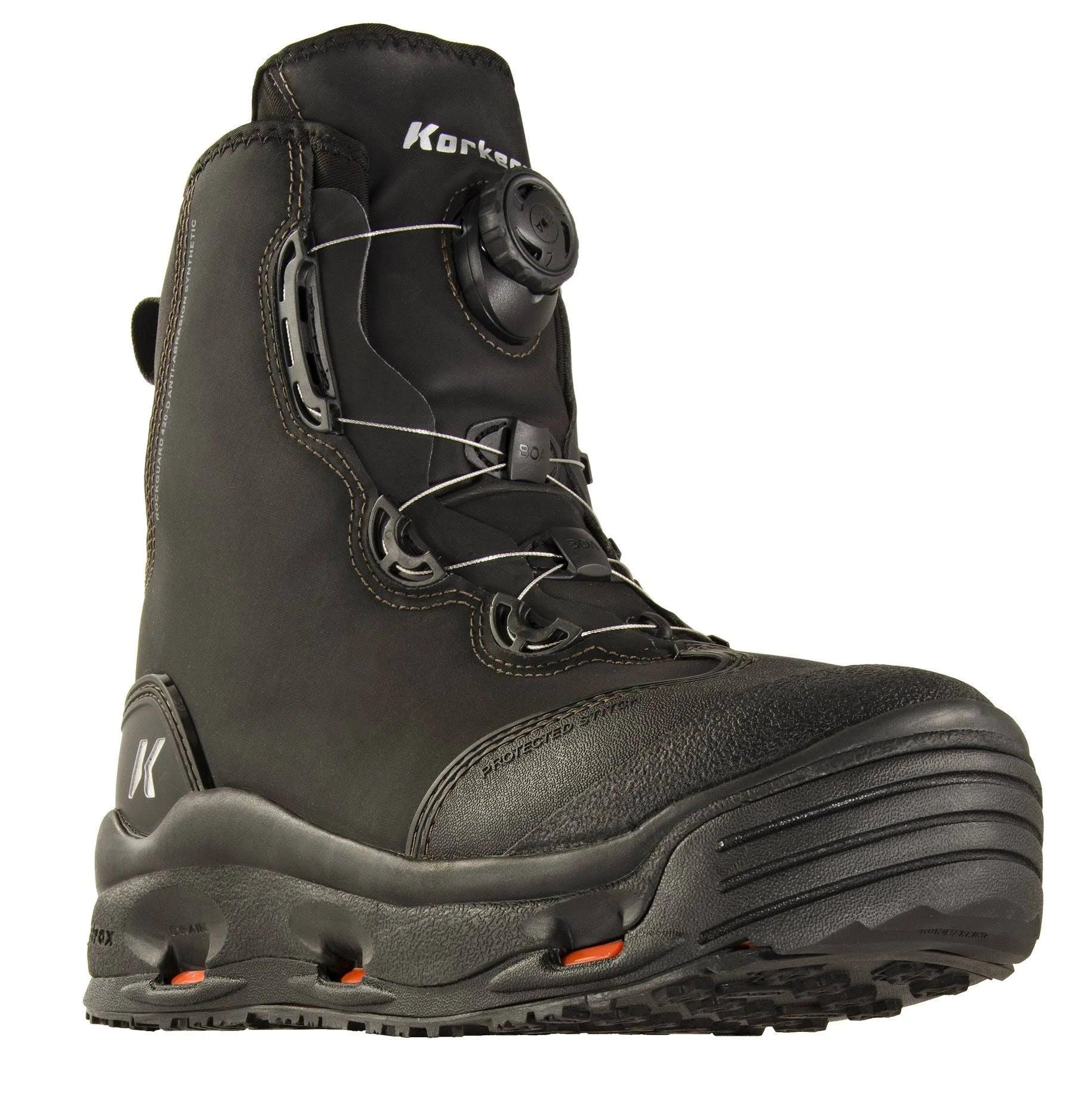 Korkers Devil's Canyon Wading Boots: 13; Kling-On/Felt; Black