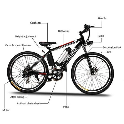 "26"" 250W/500W Electric Mountain Bike Bicycle with Removable 12.5Ah Lithium-Ion Battery,Professional 21 Speed Gears for Adults Men"