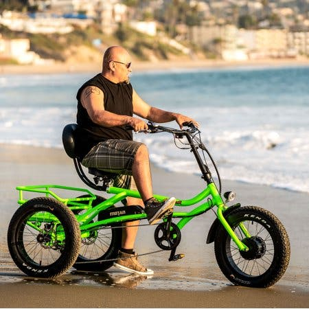 """Addmotor Addmotor 750W 48V 3 Wheel Electric Trike 20"""" Adult Fat Tires Green Tricycle Electric Bike"""