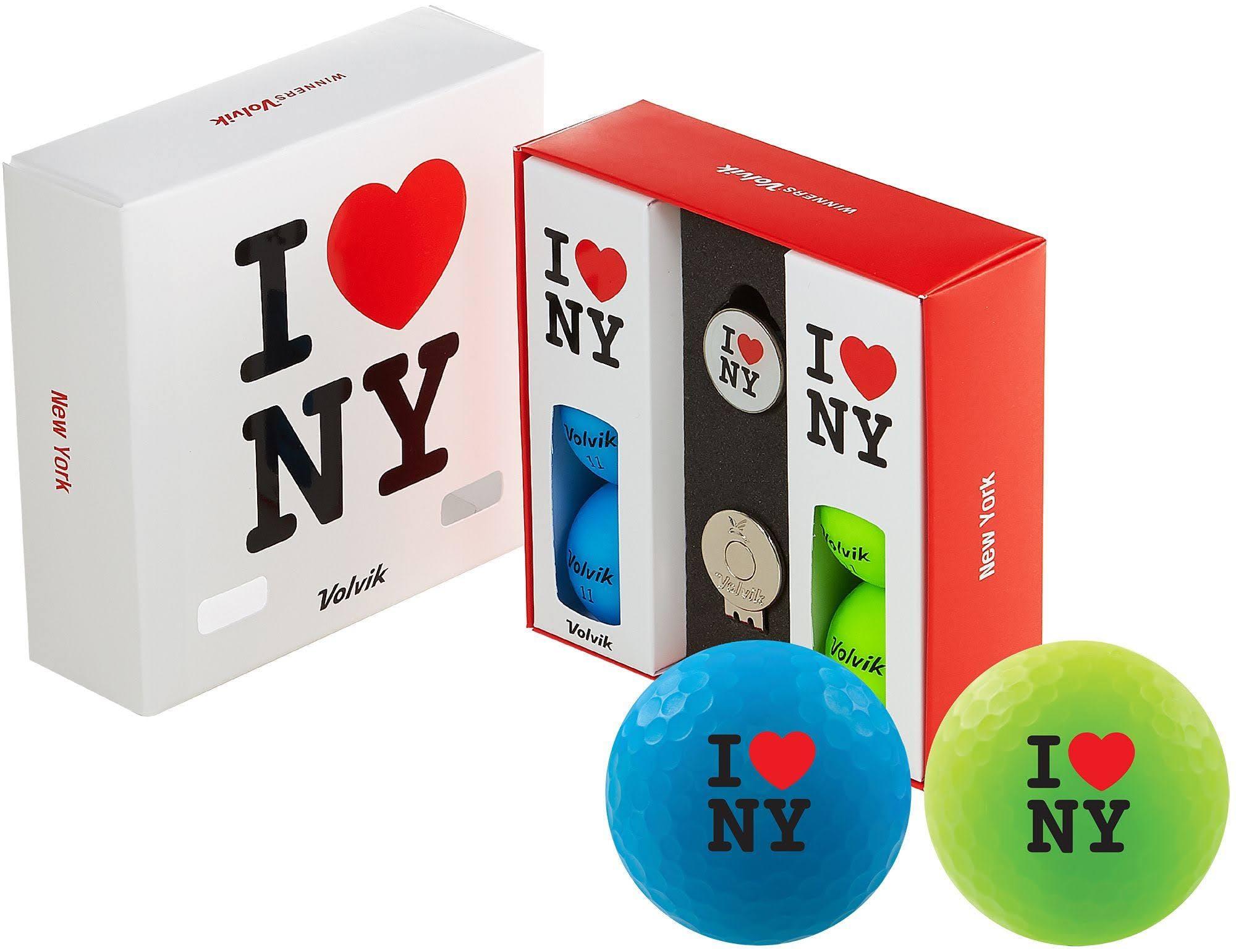 Volvik Vivid Matte State New York Edition Golf Balls + Hat Clip Set 6 Pack, Blue