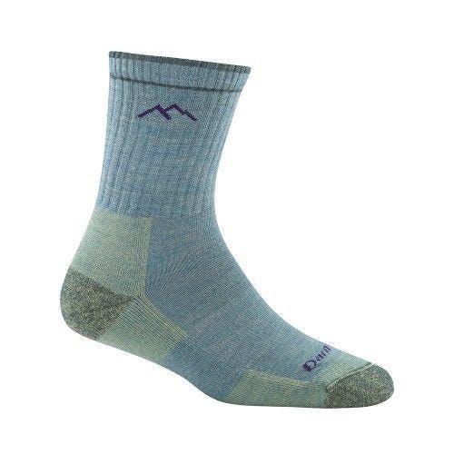 Darn Tough Women's Hiker Micro Crew Cushion Socks in Aqua Heather, Size Large