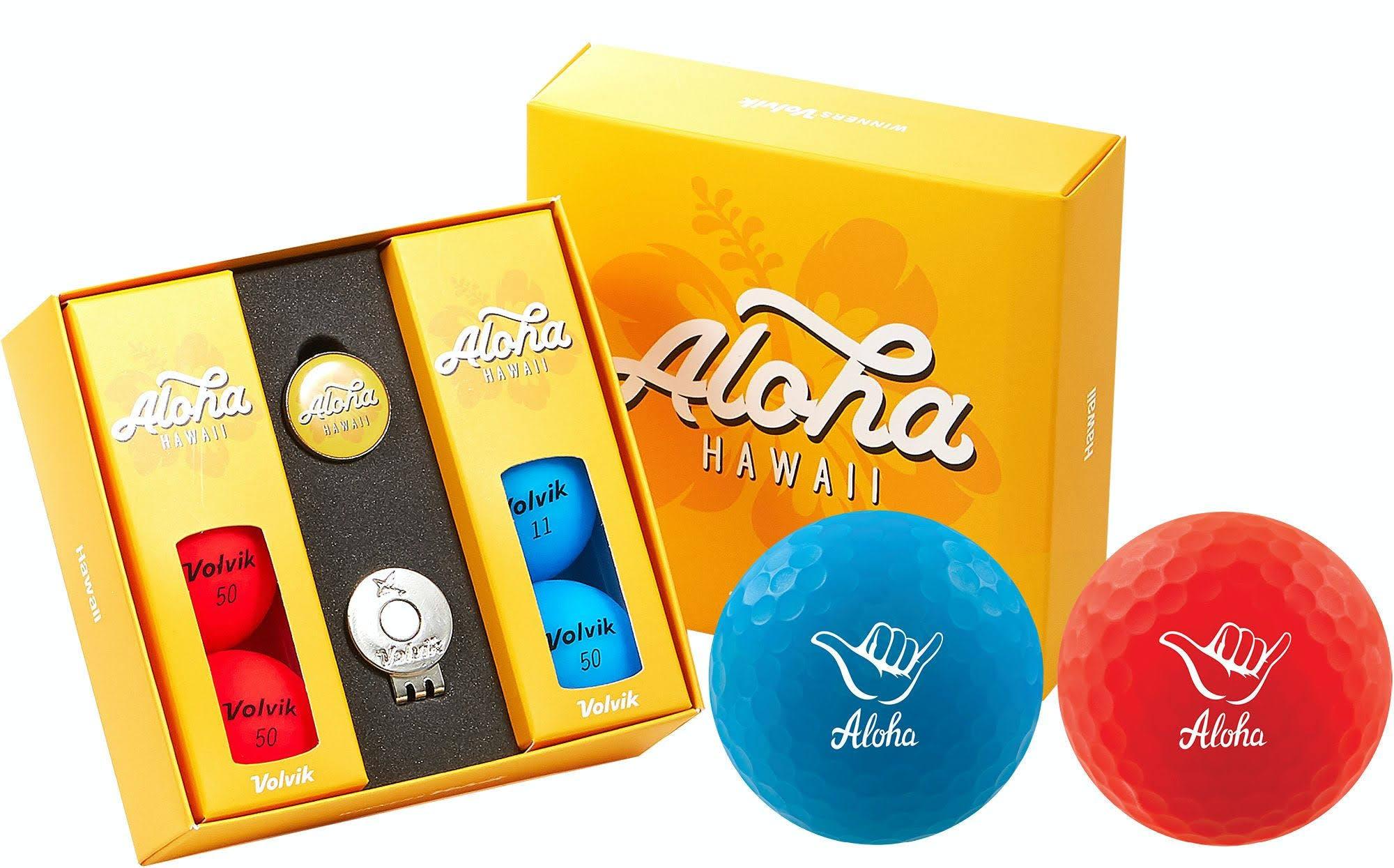 Volvik Vivid Matte State Hawaii Edition Golf Balls + Hat Clip Set 6 Pack, Blue