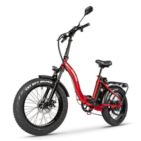 "SOHOO 48V500W12AH 20"" Folding Step-Thru Fat Tire E-Bike Adult Mountain Bicycle foldable Snow Electric Bicycle(Red)"