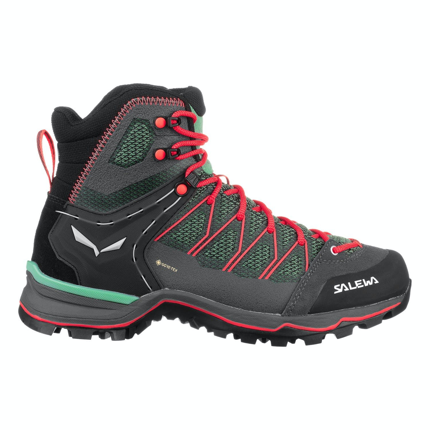 Salewa Mountain Trainer Lite Mid GTX Women's Shoes in Field Green/Fluorescent Coral, Size 6