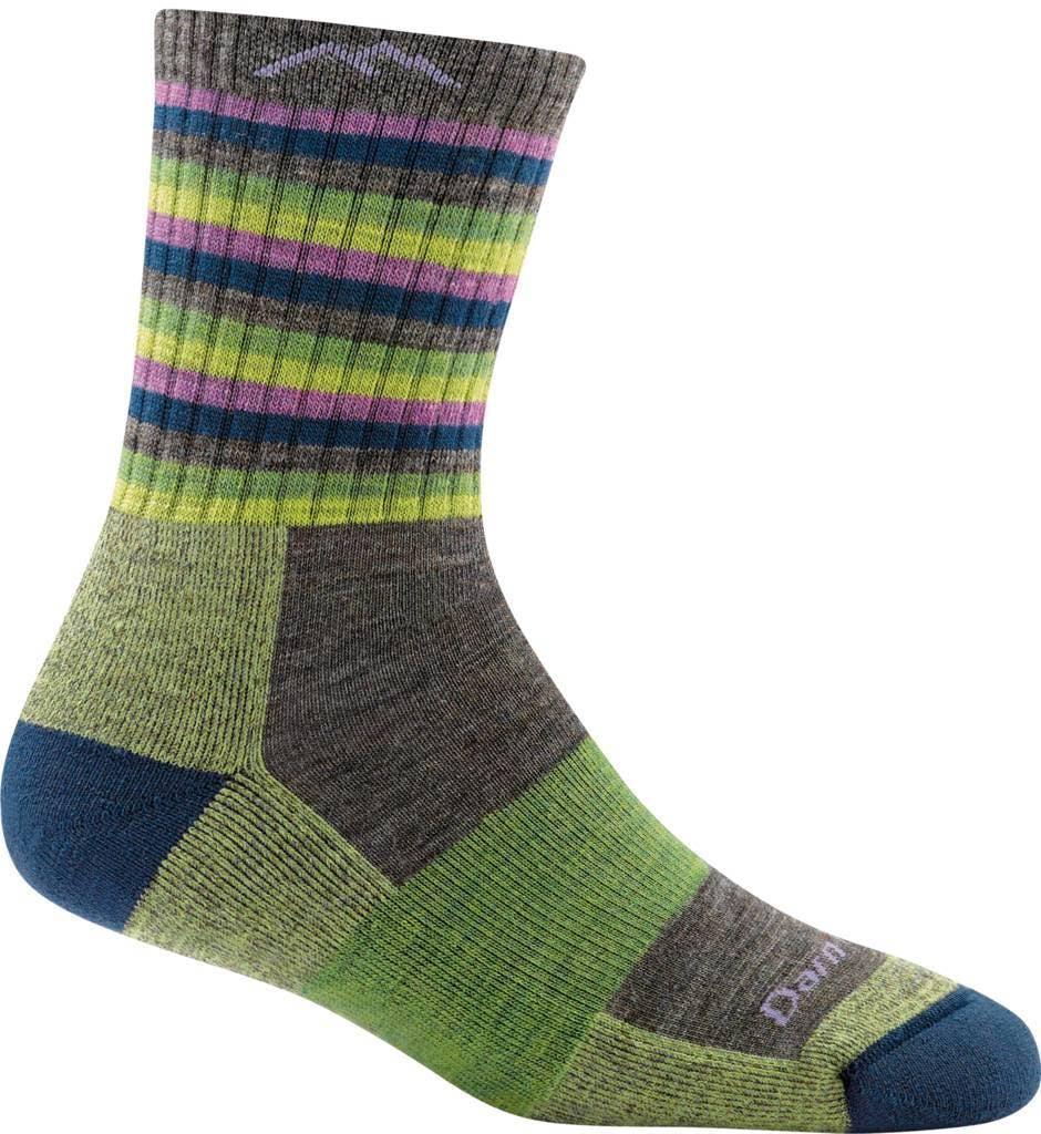 Darn Tough Women's Hike/Trek Micro Crew Cushion Socks in Lime Stripe, Size Small