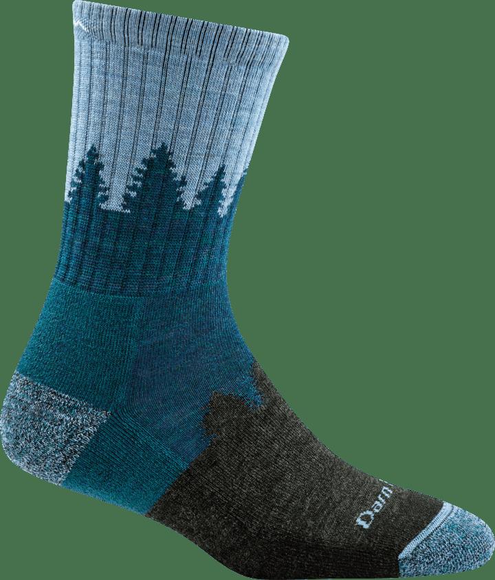Darn Tough Women's Treeline Micro Crew Midweight Cushion Socks in Blue, Nylon, Size Small