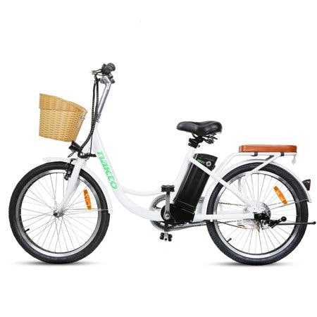 Nakto City Electric Elegance E-Bike For Adults Electric Mountain Bicycle 250W Powerful Motor 36V 10 Ah Lithium Ion Battery Ride In Snow Ice · Rain · Beach and Terrain · White