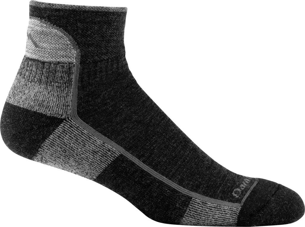 Darn Tough 1959 Men's Hike/Trek 1/4 Socks Cushion in Black, Size Large