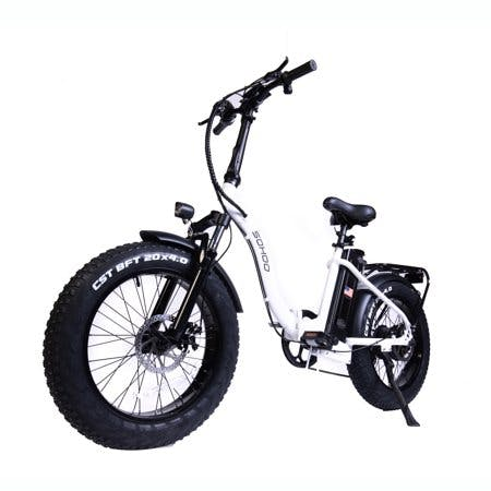 "SOHOO 48V500W12AH E-Bike 20"" Folding Step-Thru Fat Tire Electric Bike Adult Mountain Bicycle foldable Snow Electric Bicycle(White)"