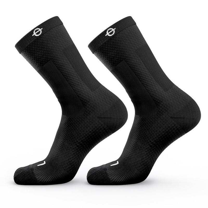 Lasso Men's Athletic Compression Crew Socks 2.0 (M) (Black)