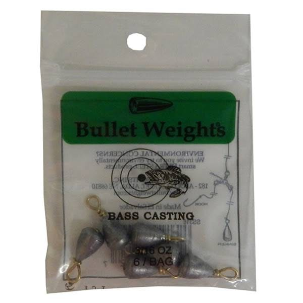 Bullet Weights Bass Casting #9, 3/16 oz, 6 Sinkers