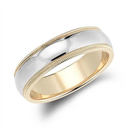 Td123886w 14k White Gold 6mm Double Milgrain Comfort Fit: Double Milgrain Comfort Fit Wedding Ring In 14k White And