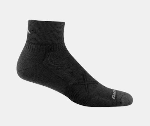 Darn Tough Men's Vertex 1/4 Ultra Light Cushion Socks in Black, Nylon, Size Large